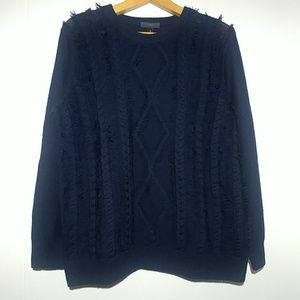 J.Crew Navy Blue Knit Sweater Eyelash Fringe Wool